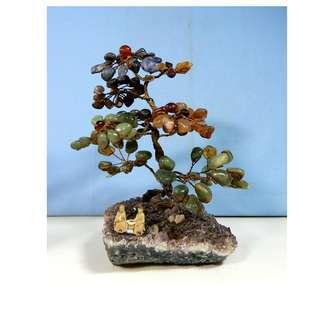 Vintage natural agate bonsai gem wired tree on amethyst mudman circa 1950s