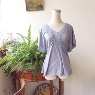 Uniqlo V領綁帶顯瘦上衣 淺藍色 #十月女裝半價