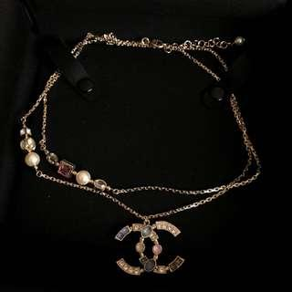 Chanel Necklace with Strass Crystals and Stones in Pale GHW