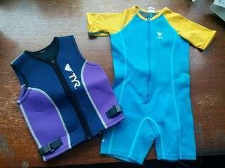 兒童游泳衣加保暖背心