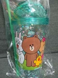 Line friends big plastic cup with straw, green brown, pink cony, $40@