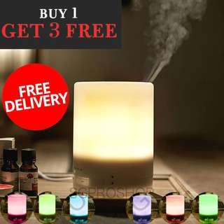 LIMITED SETS ONLY. WARM LIGHT + MULTI COLOR LED! MUJI STYLE AROMA DIFFUSER AND HUMIDIFIER. FREE 3x Essential Oil. All Ready Stock Available.