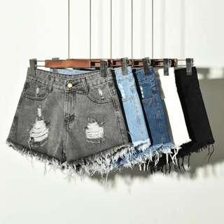 (5Col) Denim Ripped Shorts