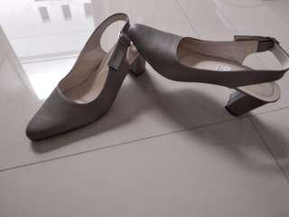 Grey formal casual heels shoes