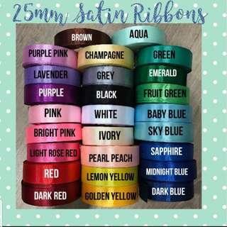 25mm Satin Ribbons