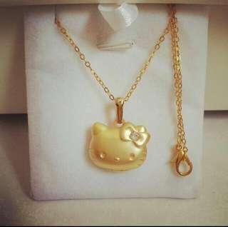 e0aa8c615 Hello Kitty Cartoon Crystal Matte Gold Locket Pendant With Chain Necklace