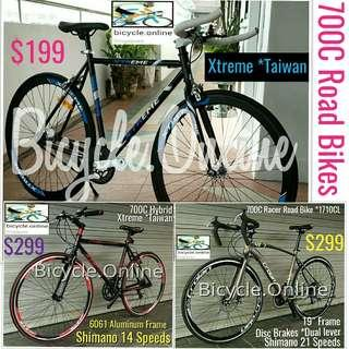 700C Bicycles from $199! Brand new road bikes.