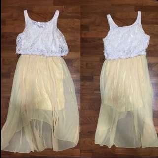 Missypixie fishtail dress in BLACK / YELLOW / BLUSH PEACH