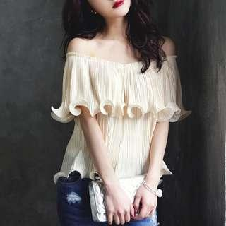 Cream White Blouse Shirt Off Shoulder Top Korean Frill Women office work outfit