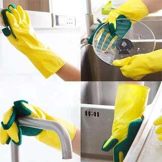 Scrubbing latex dishwashing gloves. Reusable washable and quality. 1 pair