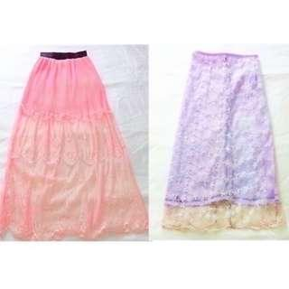 $10 SALE: 1+1 = Peach Maxi Long Skirt & A Lace Midi (do you see this marked sold? no. then OBVIOUSLY ITS AVAILABLE)