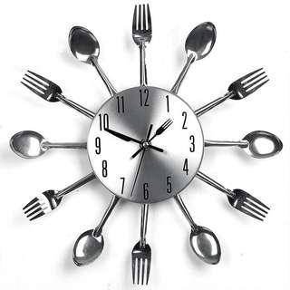 Fork and spoon hot selling silver wall clock . Unique and classy design