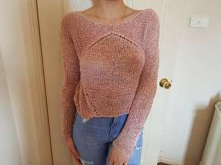 Hunkydory stockholm dusty pink crochet sweater jumper xs to small