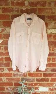 Ralph Lauren Pink Linen Button Up Shirt M Free Postage