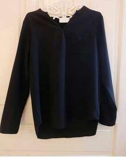 Black Cotton Basic Top blouse