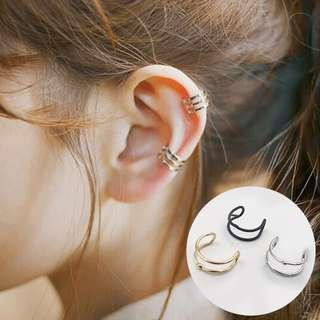 Double Simple Circle Plated Design Ear Cuff
