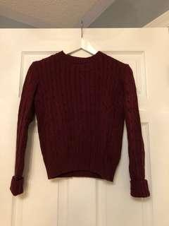 BARELY WORN American Apparel burgundy knit sweater (S)