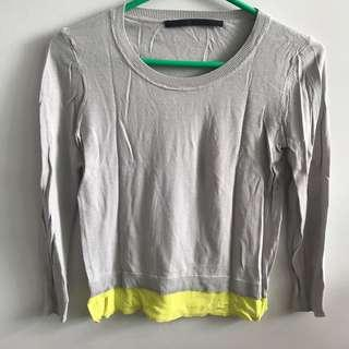 Grey top with green detail