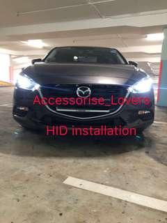 Hid installation on Mazda 3 and led pole light installation     Suitable for Nissan Toyota Vios Altis Camry Volkswagen scirocco Jetta Golf Passat Mercedes c200 c180 Honda Civic Crossroad mazda 3 2018