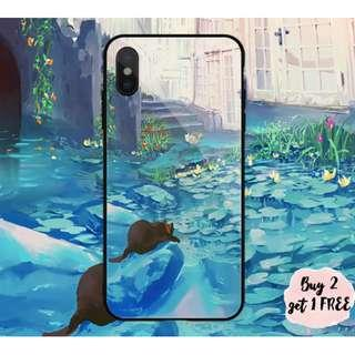 Cat at Lily Lotus Pond iPhone/Huawei/Oppo/Samsung Case