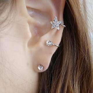 Star Rhinestone Plated Wrap Ear Cuff Earrings 🌟
