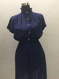 Dark blue polka dot vintage dress