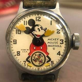 ❤️ 古董米奇 1930s 全球第一款 Vintage 1930s Very Rare Collectible First Mickey Mouse Watch. 這是原裝1935年版,不是這幾年出的懷舊版!米奇迷必要收藏!一切正常重好準時。