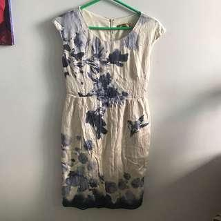 White dress with blue flowers design