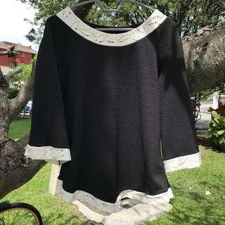 Black White Knitted Top