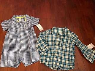 BNWT Carters shirt romper and shirt