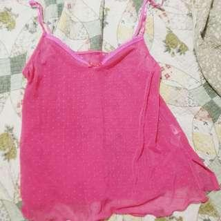 Vtg M&S Sheer Pink Polka Dotted Mesh Cami