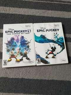 Wii Game Disney Epic Mickey 1 and 2