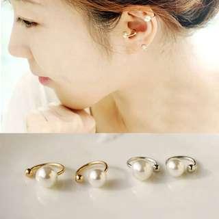 U Shaped Faux Pearl Gold/Silver Plated Stud Ear Cuff Earring