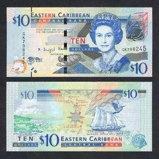 2016 EAST CARIBBEAN STATES 10 DOLLARS P-52b UNC > QUEEN E II ADMIRALTY BAY