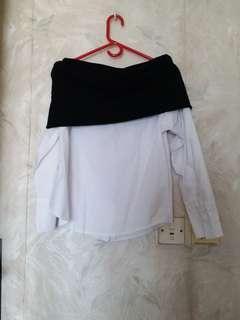 Off shoulder shirt top 韓國靚料一字膊圓領多種著法恤衫上衣