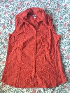 Orange Croft & Barrow sleeveless collared top