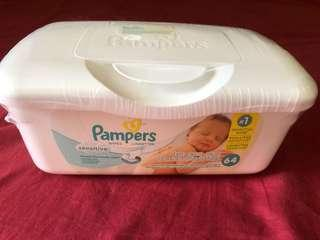 Baby wipes in a tub
