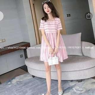 Pink stripe babydoll dress