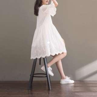 White crotchet babydoll dress