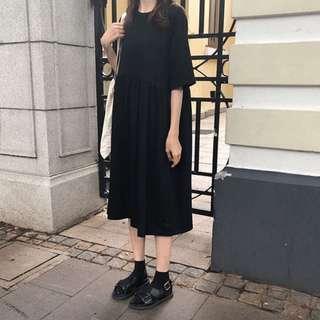 Korean style black dress
