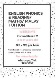 English Phonics & Reading, Maths, Malay Tuition