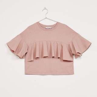 Bershka poplin pink top
