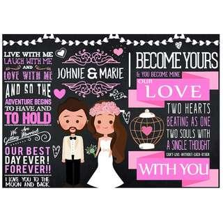 Customized Wedding Chalkboard Design: Happily Ever After (Design 18)