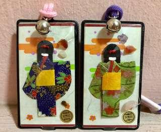 BN Japanese Doll Lucky Keychains with Gemstone and Copper