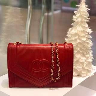 ❤️Beautiful Vintage Piece!❤️ Chanel Envelope Flap in Red Lambskin GHW
