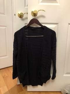 TOPSHOP navy blue (almost black) longsleeve knit cardigan (size 4)