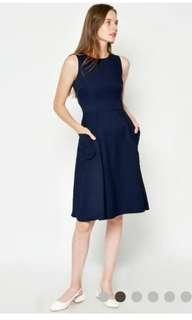 Catherine Pocket Flare Dress Navy