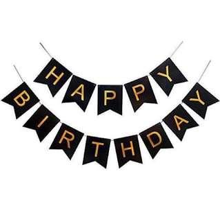 Happy Birthday Banner (Black)