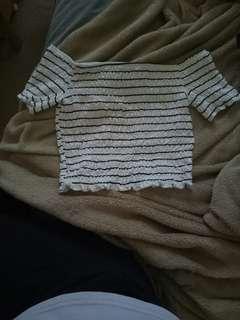 Top shop // striped off shoulder crop top