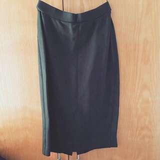 uniqlo 黑色包臀裙 斯文 ponte pencil mini skirt